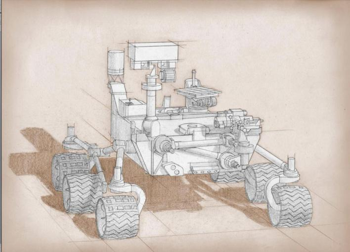 Sketch of 2020 Mars rover