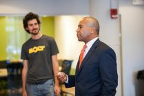 Bolt founder Ben Einstein and Massachusetts governor Deval Patrick at BOLT opening.
