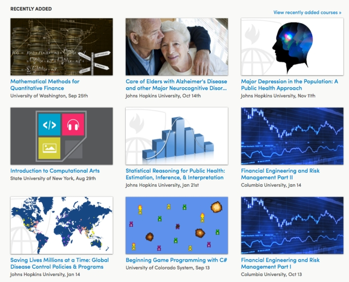 A sampling of jsut new classes on Coursera.