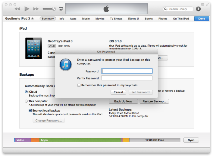 Encrypt iOS Device Backups on your Mac