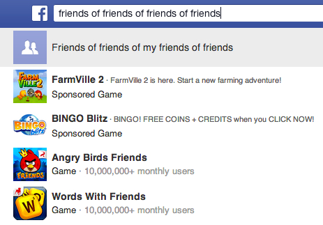 Facebook graph search friends