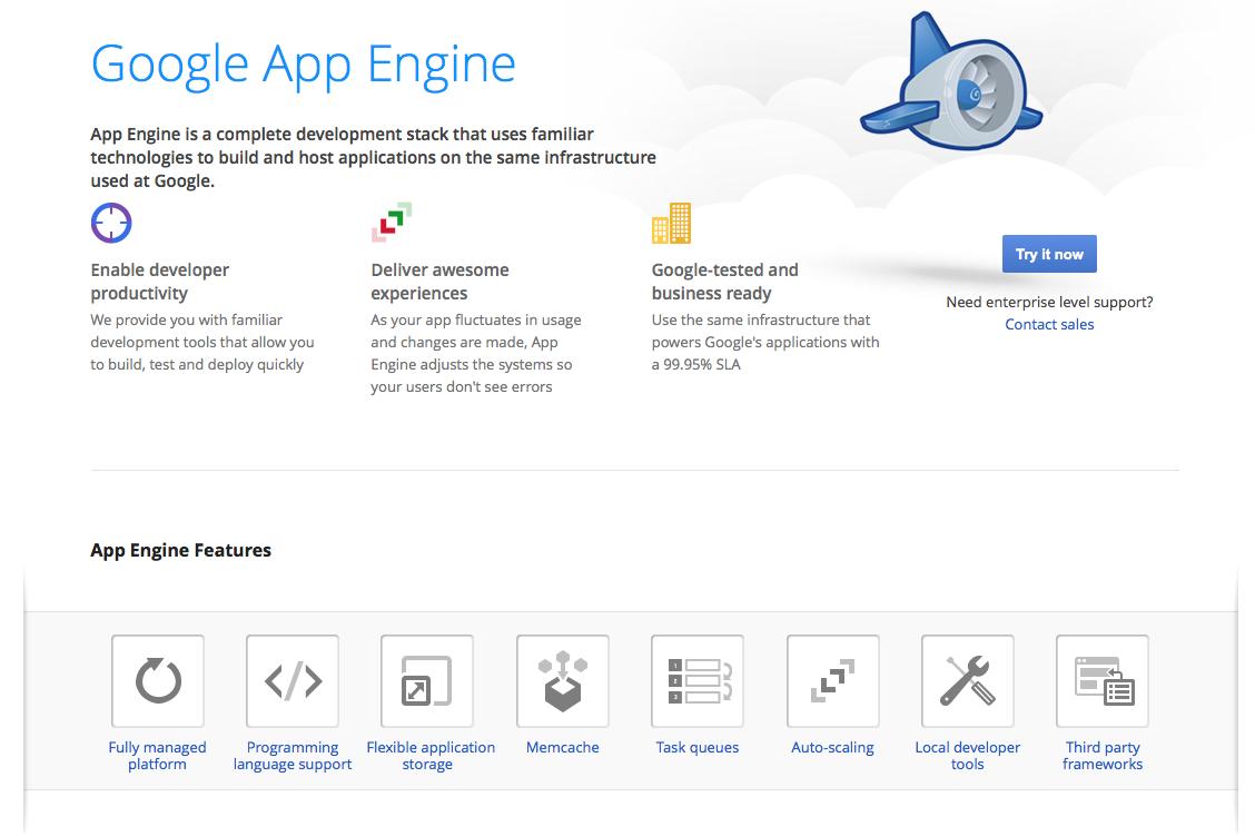 The App Engine homepage.
