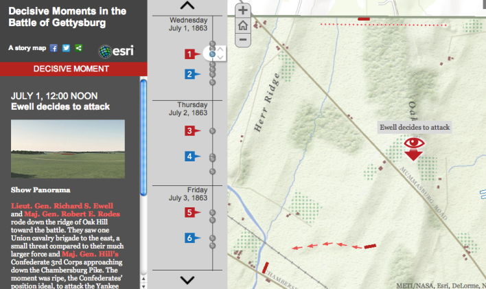 "Story map of the ""Decisive Moments in the Battle of Gettysburg."""