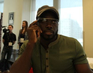 Noble Ackerson, a Google Glass Explorer and vice president at Silica Labs, demos his Glass app.