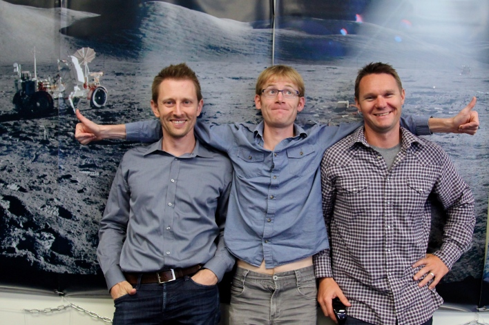 Planet Labs founders Chris Boshuizen, Will Marshall and Robbie Schingler in their SoMA office. Photo by Signe Brewster.