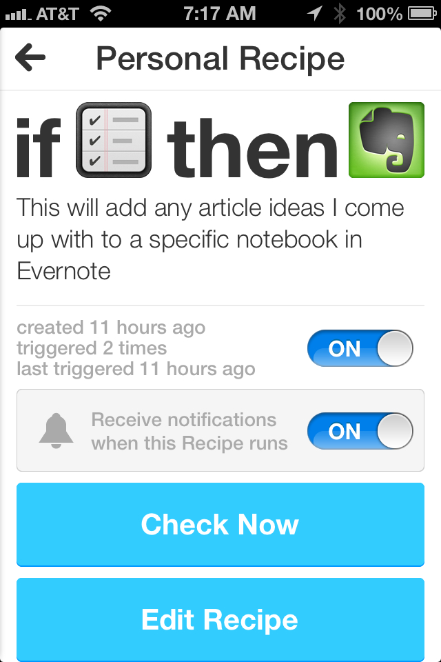 iOS Notifcation for IFTTT