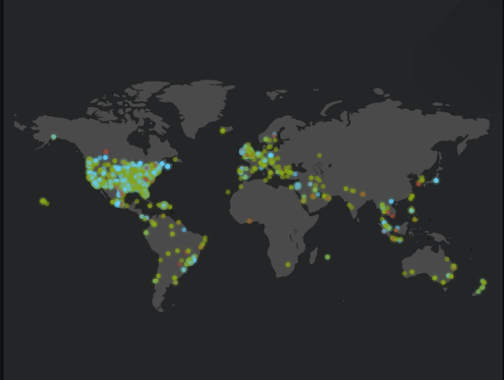 A heat map showing Life360 global check-ins