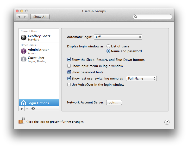 Logon to your Mac with your ID and a Password