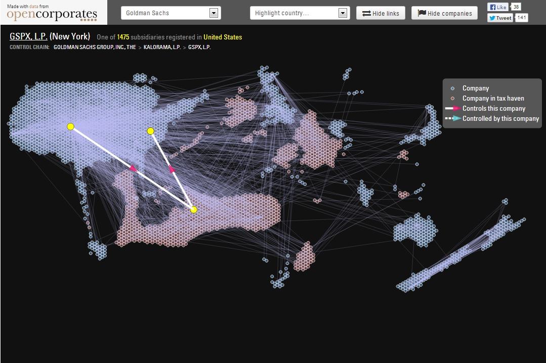 OpenCorporates Goldman Sachs map