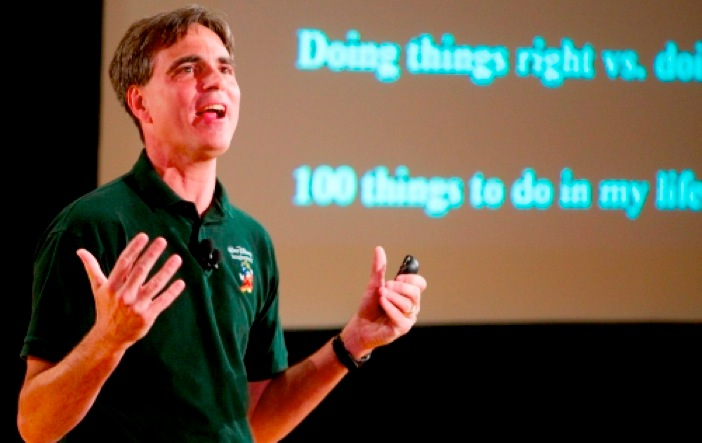 """Pausch reprising his """"Time Management"""" talk in 2007."""