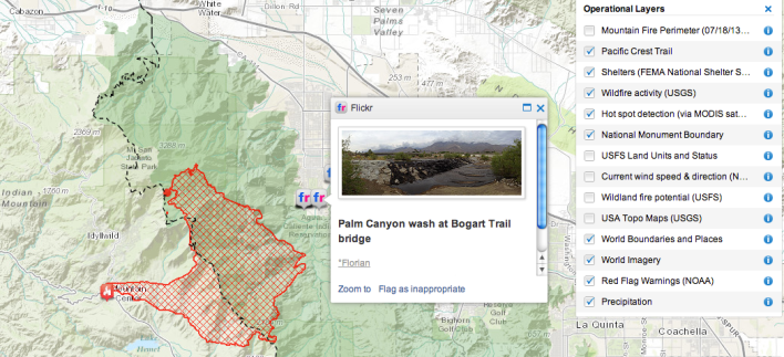 The Wildfire Public Information map is a responsive web mapping application that shows a live feed of wildfire information, as well as numerous overlays including weather, shelters, and wildfire predictions.