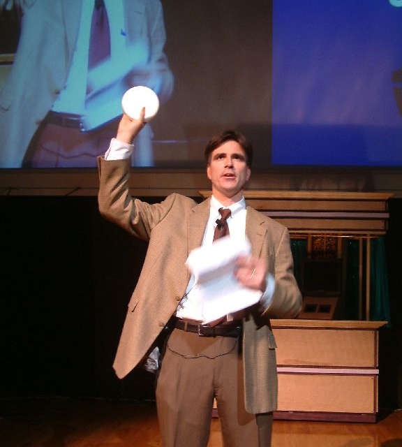 Randy in 2005, introducing the audience to a Building Virtual Worlds project.