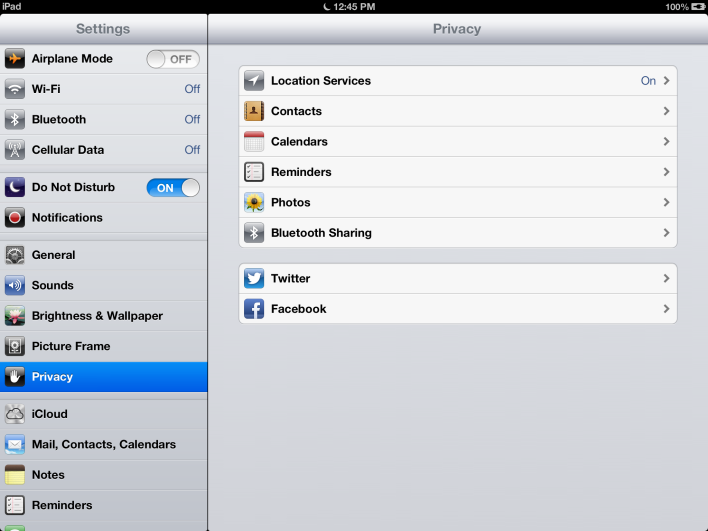 Review iOS Privacy Settings