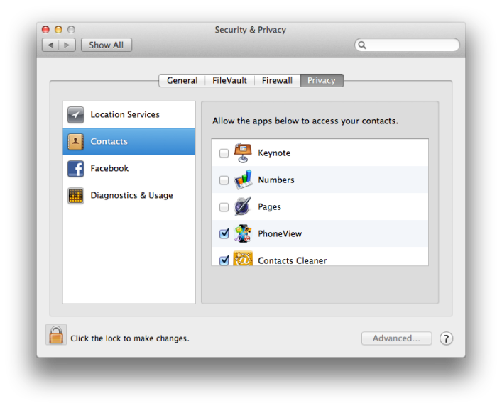 Review OS X Privacy Settings