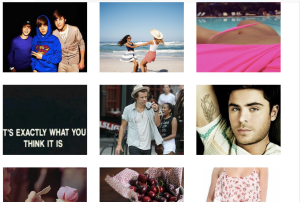 We Heart It social network grid images