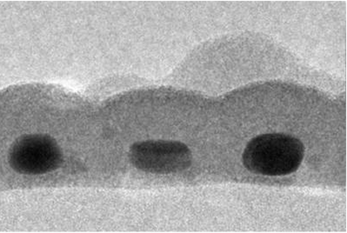 These three gold nanodots each measure in at about 14 nanometers wide and 17 nanometers tall.