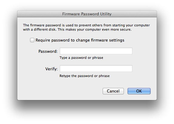 Setup a Firmware Password on your Mac