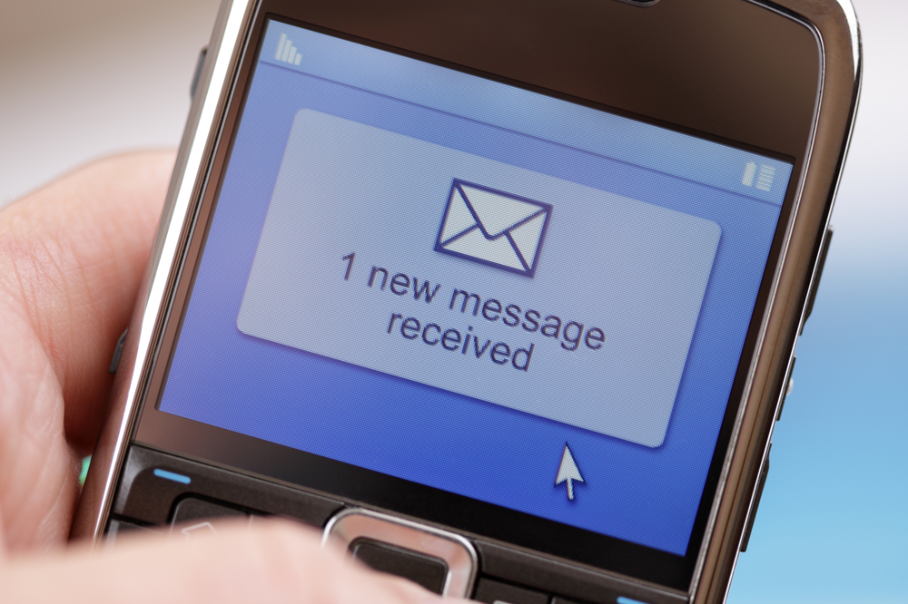 New text message on phone SMS