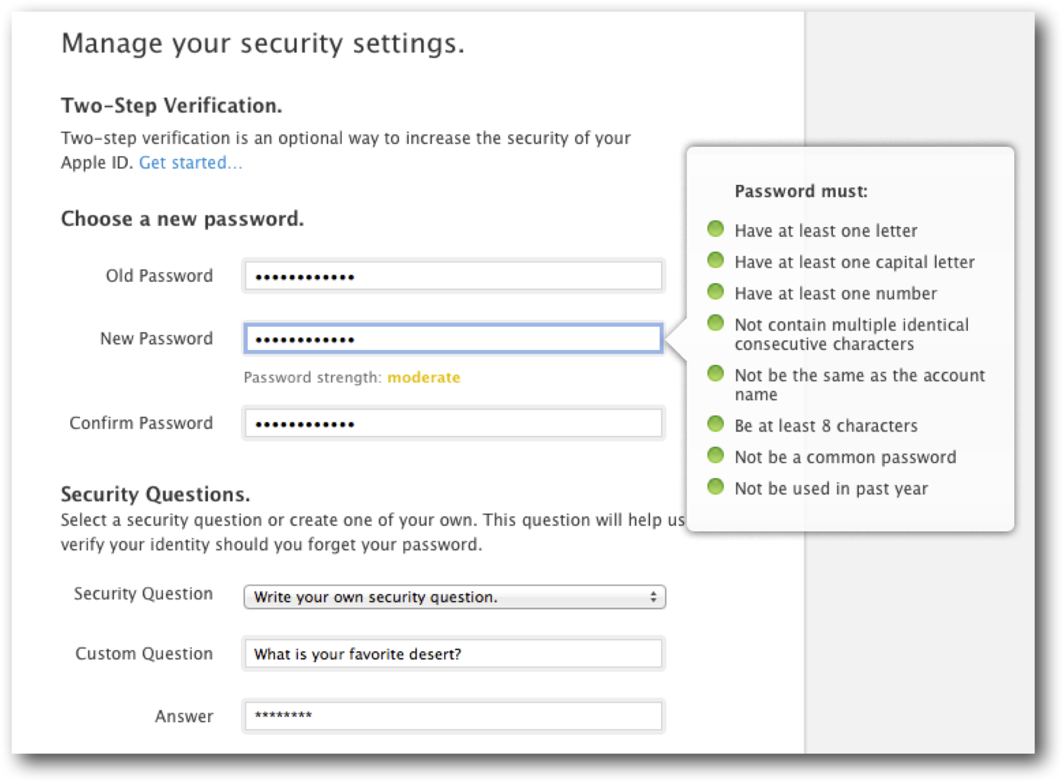 Update your password and security questions