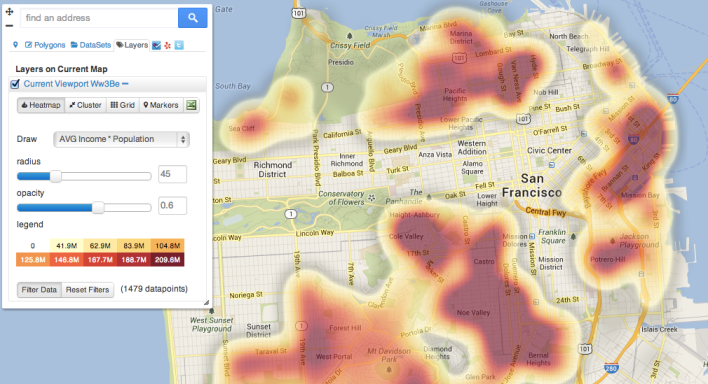 InstaGIS heatmap of Asians living in San Francisco making over $100,000 a year. One can further drill down into the map to find out more about that demographic.