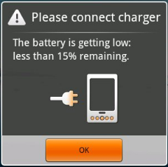 Android battery warning