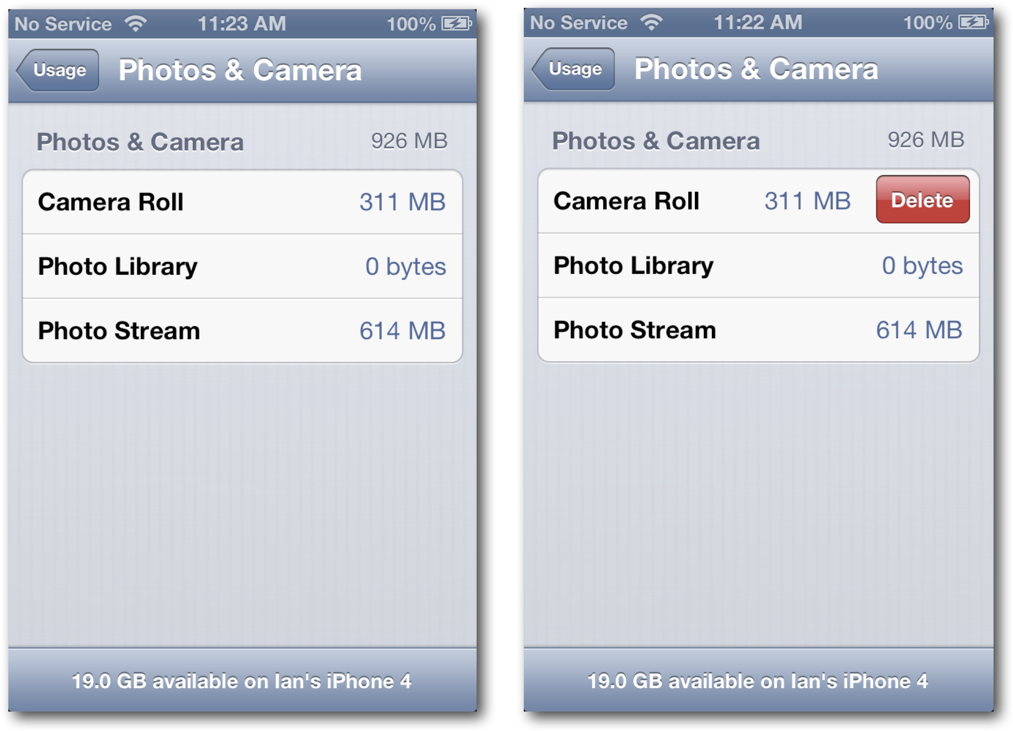 Delete Camera Roll on iPhone