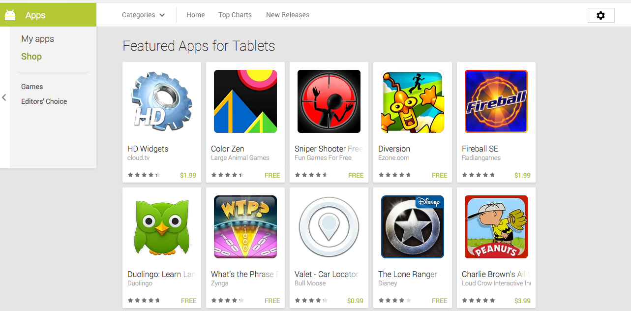 Featured apps for tablets