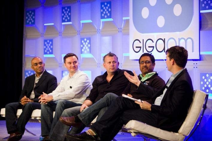 "Papaioannou (center) on the ""guru panel"" at Structure: Data 2013. (c) Albert Chau"