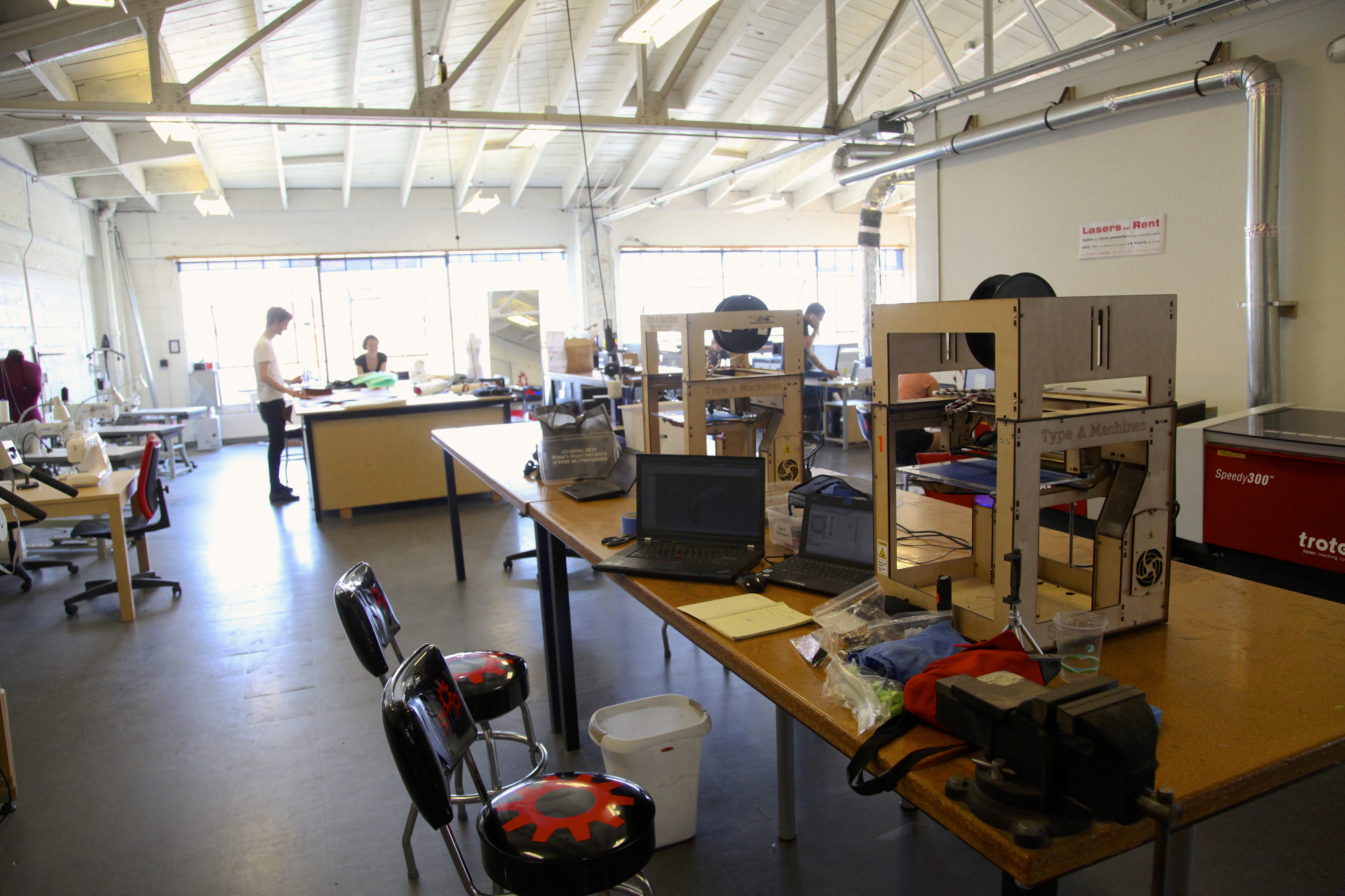 Type A Machines 3D printers sit on the top floor of TechShop, available for member use. Photo by Signe Brewster