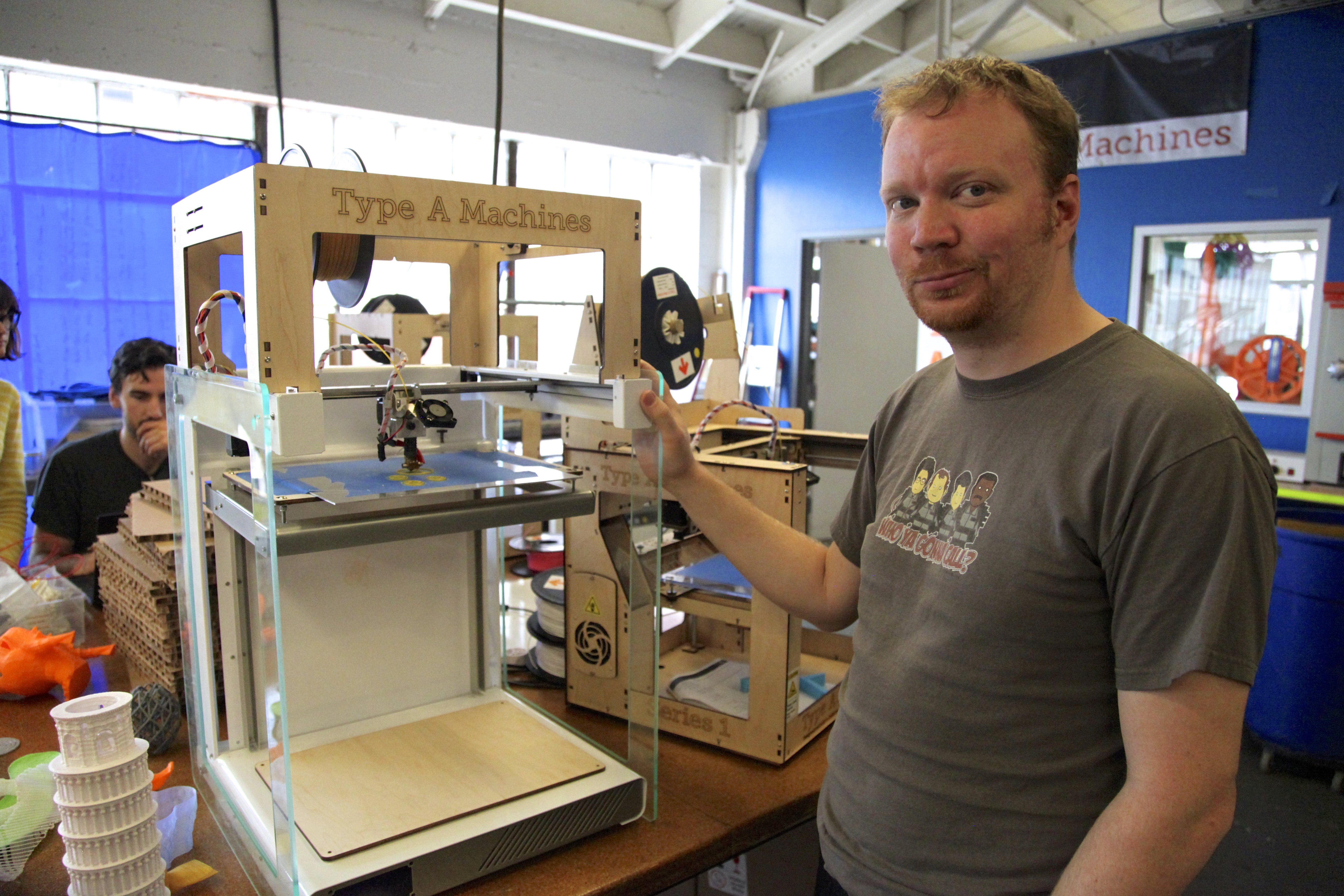 Type A Machines founder and CTO Andrew Rutter poses in their office with a Series 1 Pro 3D printer prototype. Photo by Signe Brewster