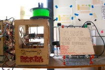 All of Noisebridge's equipment is donated, including its 3D printers. It doesn't have the latest Replicator, but it does stock a vintage MakerBot Thing-O-Matic and RepRap. Photo by Signe Brewster