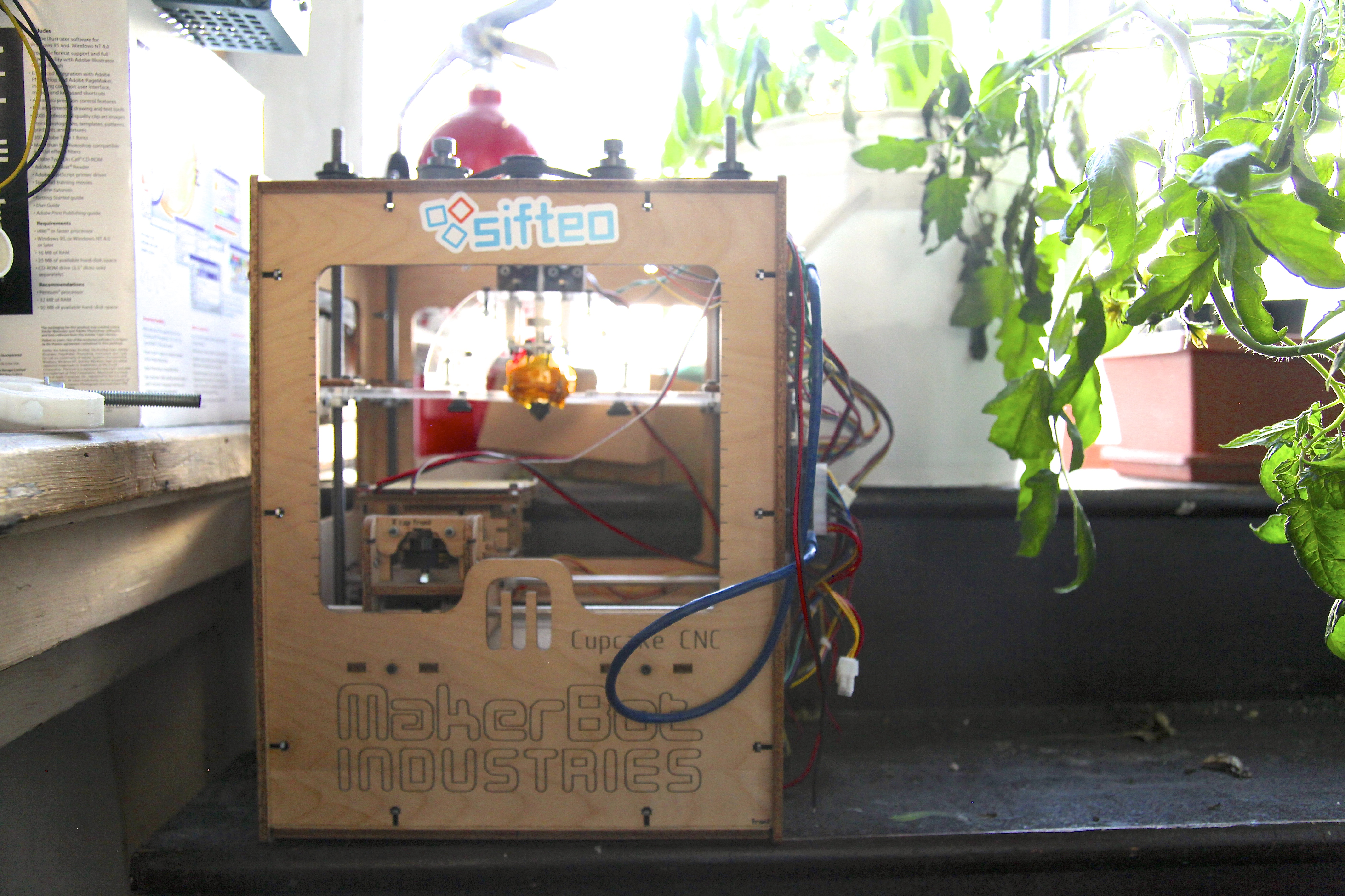 All of Noisebridge's equipment is donated, including its 3D printers. It doesn't have the latest Replicator, but it does stock a vintage MakerBot Cupcake. Photo by Signe Brewster