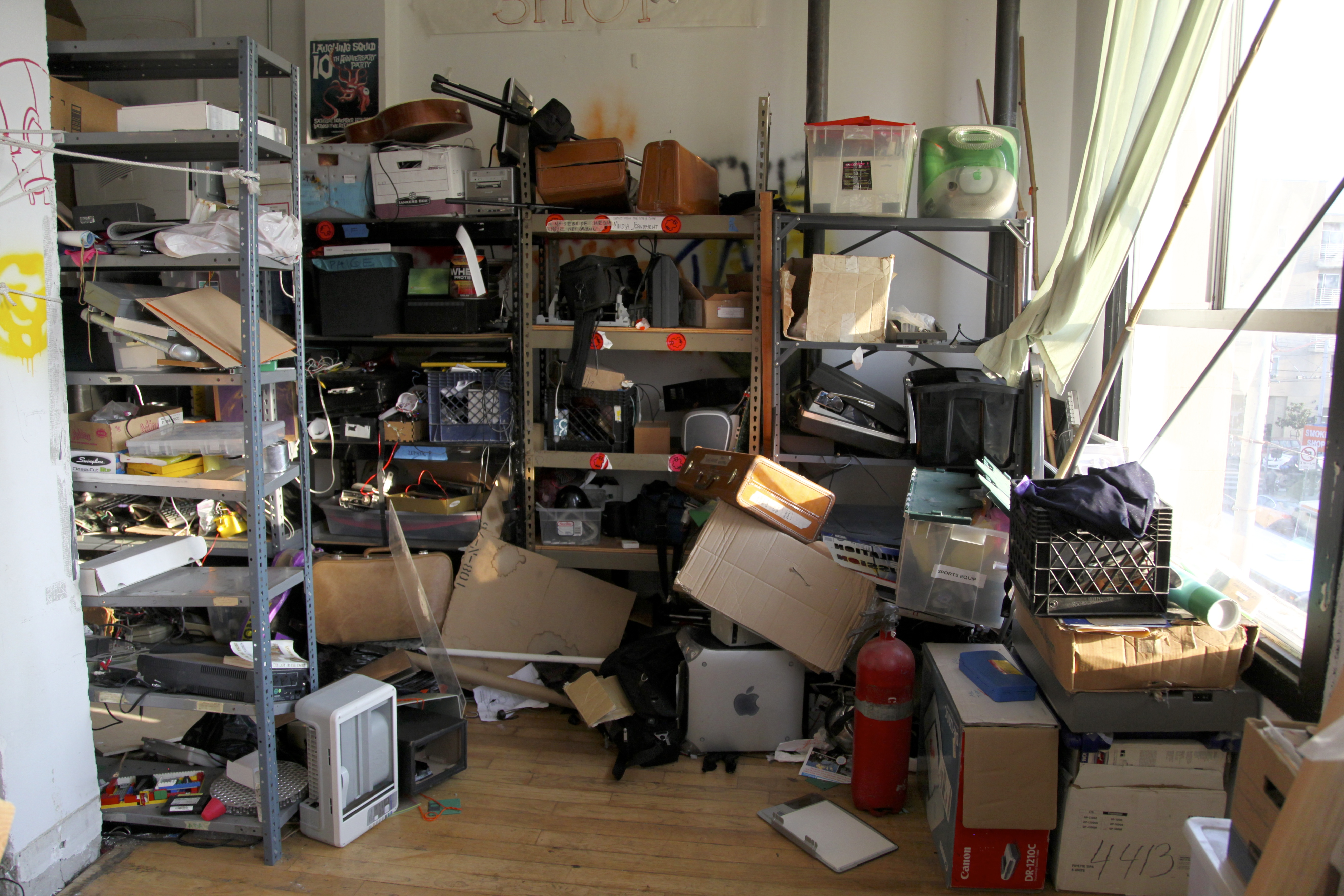 Paying members receive few benefits, but one of them is storage space within Noisebridge. Photo by Signe Brewster