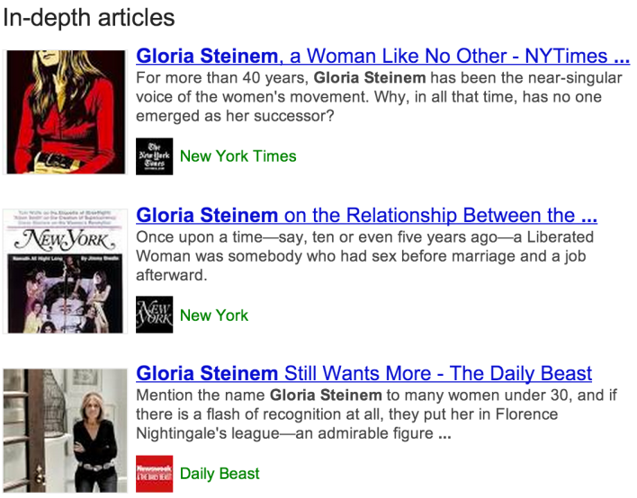 Google results screenshot In-depth articles - [gloria steinem]