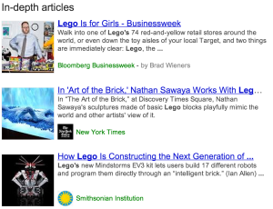 Google results screenshot In-depth articles - [lego]