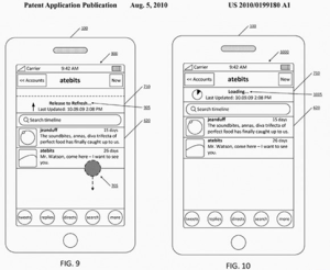 Twitter pattent for Loren Brichter's pull-to-refresh gesture. Despite the patent, the gesture can be found on a number of devices and apps.
