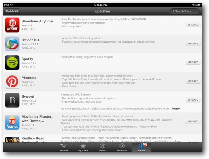 Missing iOS App Store Updates