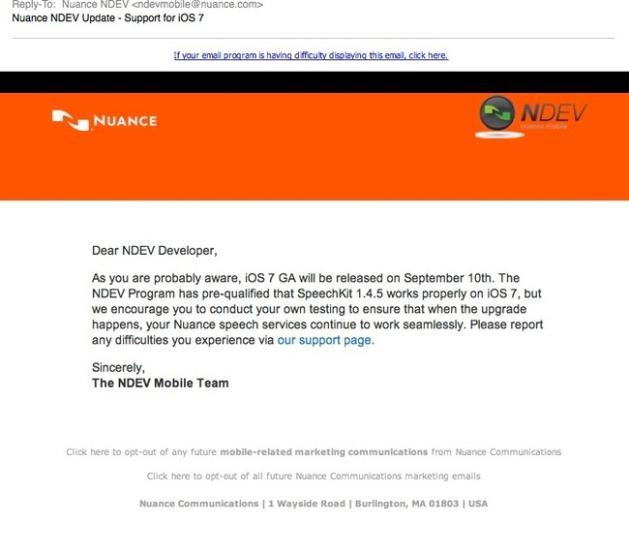 Nuance iOS 7 release date