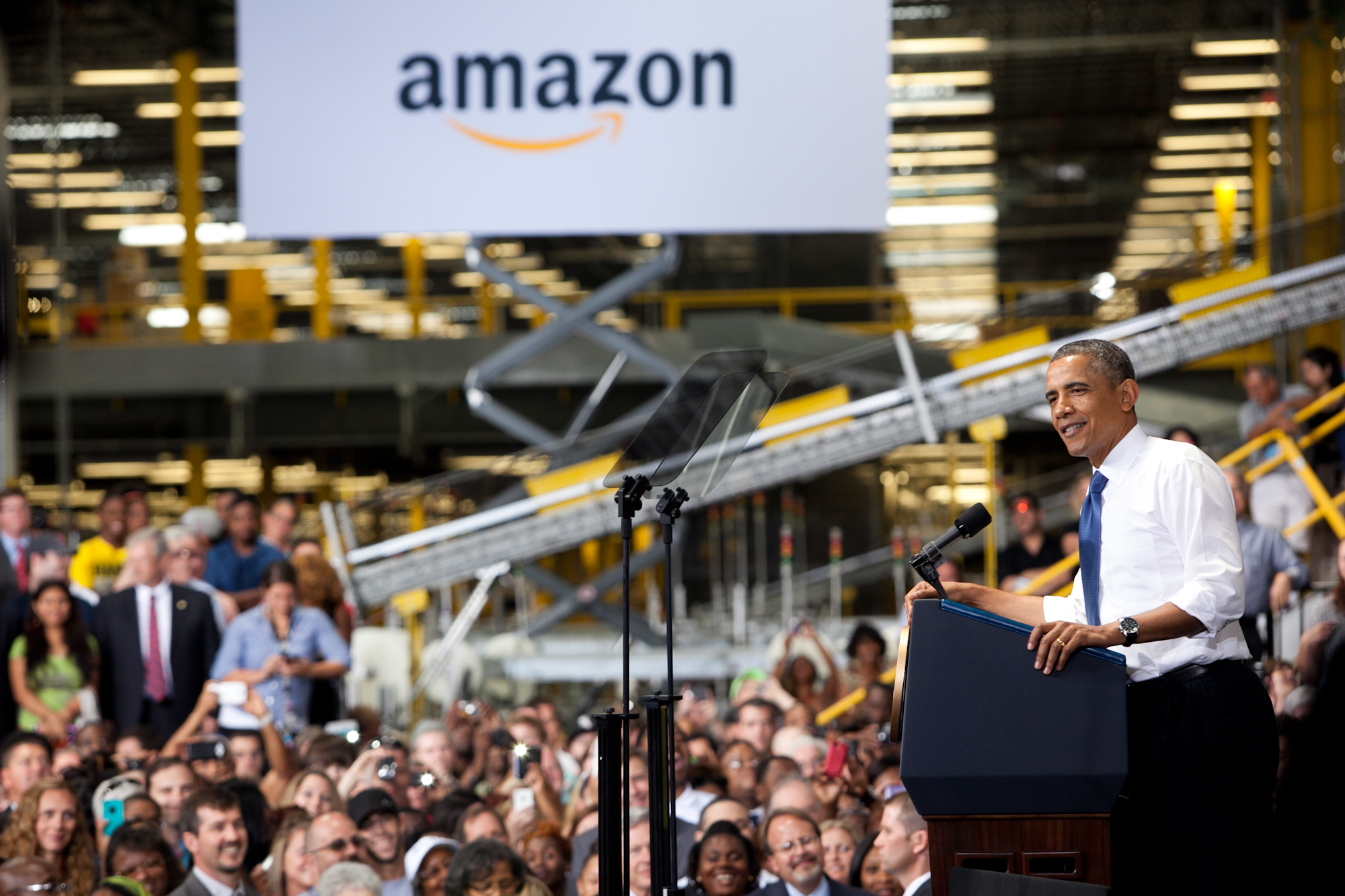 CHATTANOOGA, TN - JULY 30:  President Obama makes a speech about the economy and jobs at an Amazon Fulfillment Center in Chattanooga, Tennessee on July 30, 2013.  Amazon announced this week that it expected to have 7,000 job openings across the country.  (Photo by Jessica McGowan/Getty Images)