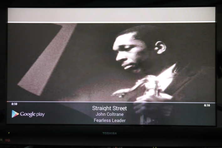 Google Play Music looks pretty neat on your TV, but there's no integration with the service's website yet.