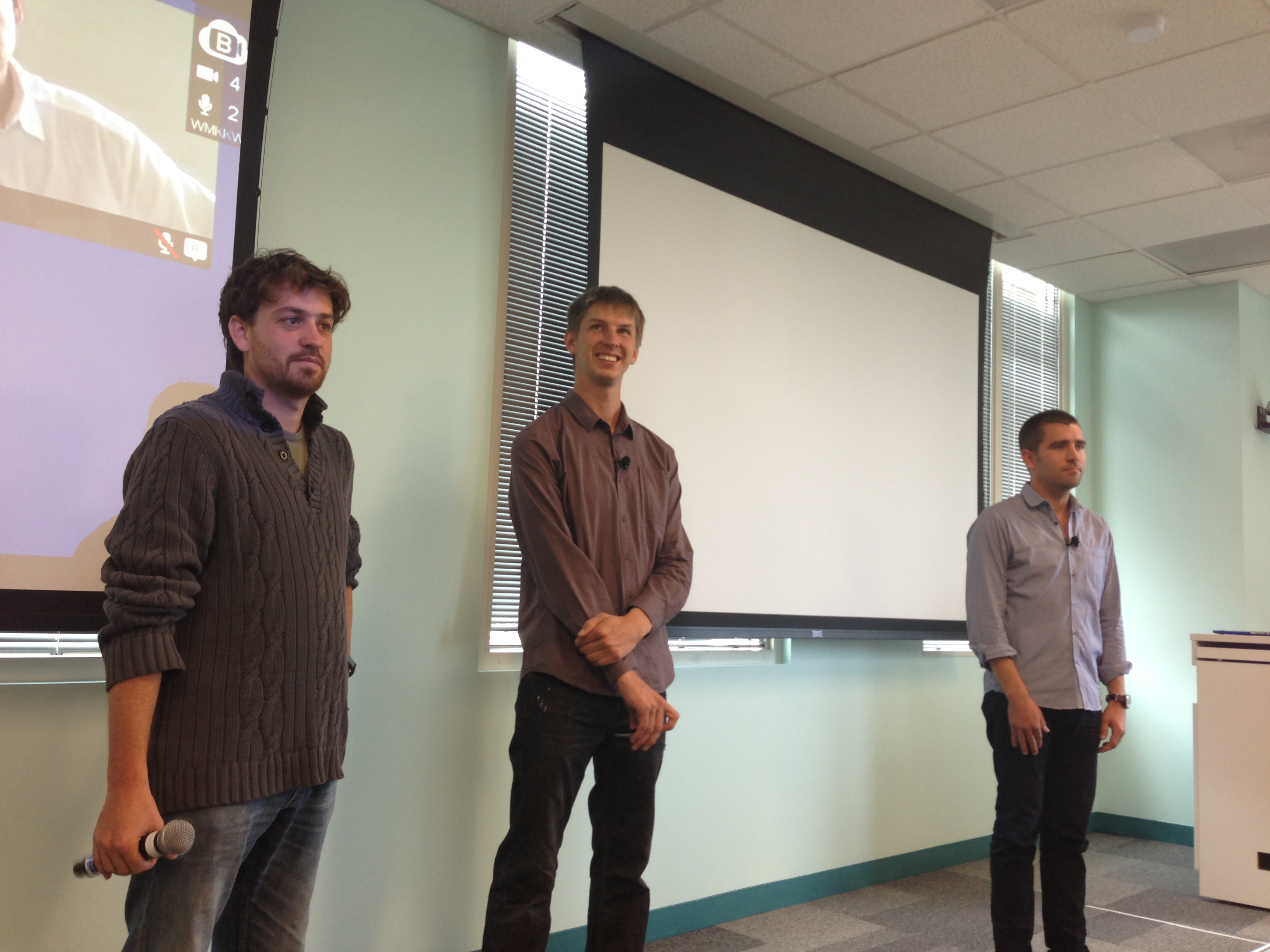 Chris Cathcart, Lars Backstrom, and Chris Cox talk with reporters in Menlo Park about how Facebook organizes the News Feed.