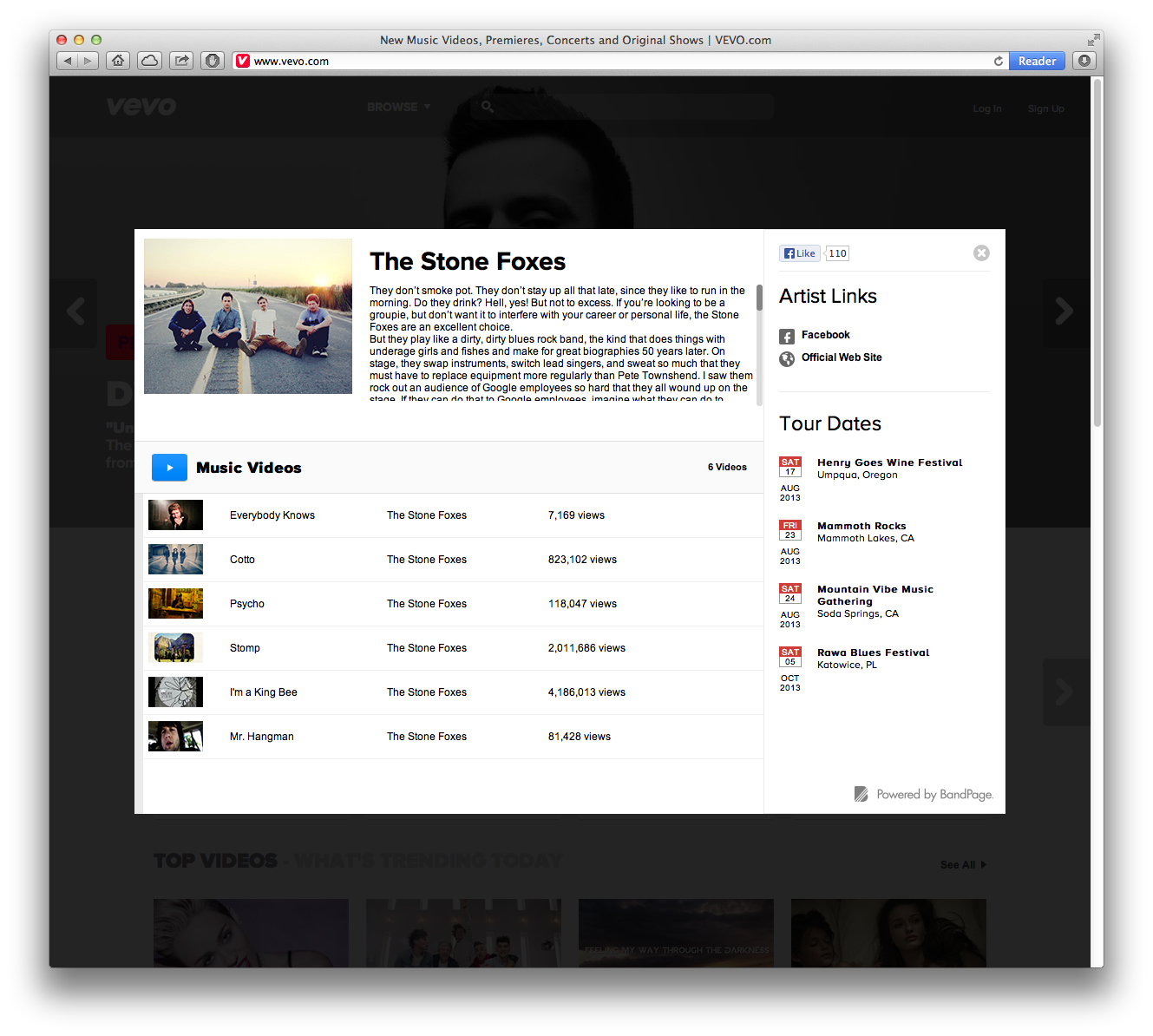 Here's how the new BandPage-powered profiles look like on Vevo.com.