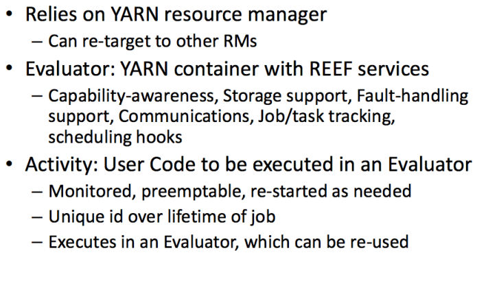 A presentation slide on REEF's components and capabilities.