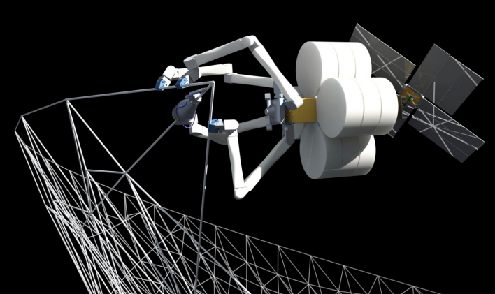 A mock up of the SpiderFab system. Courtesy of Tethers Unlimited