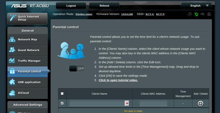 The Asus web app interface.