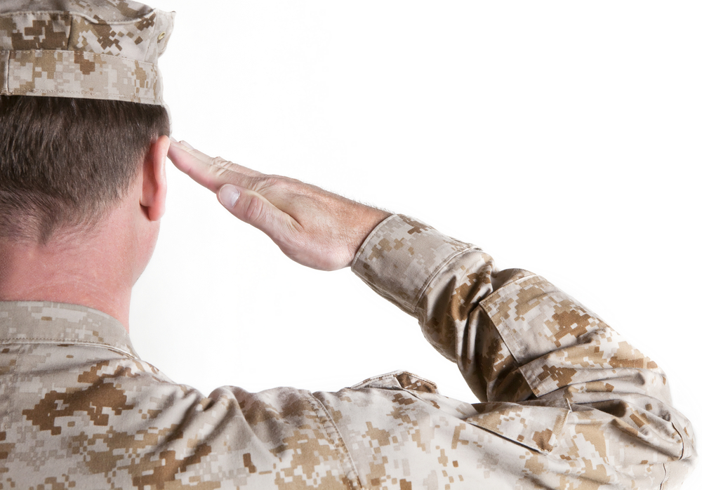 Soldier saluting Army