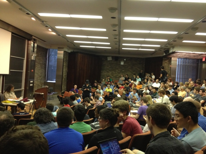 Packed NYU lecture hall for Richard Stallman. Photo by Rani Molla