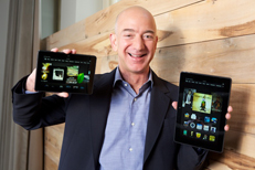 Amazon's Jeff Bezos with the Kindle Fire HDX