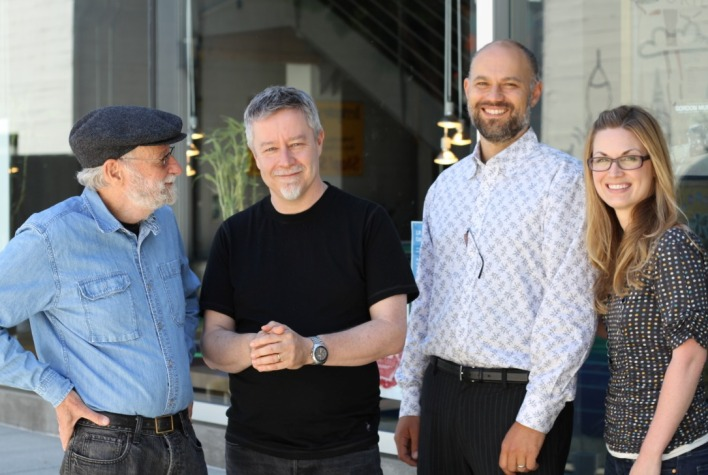(L to R:) Don Norman, IDEO CEO Tim Brown, and co-instructors Kritsian Simsarian and Chelsey Glasson standing in front of IDEO, which is included in a course interview for their MOOC.