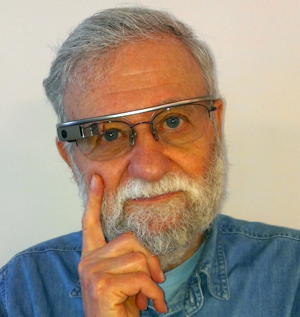 Don Norman sporting Google glass.